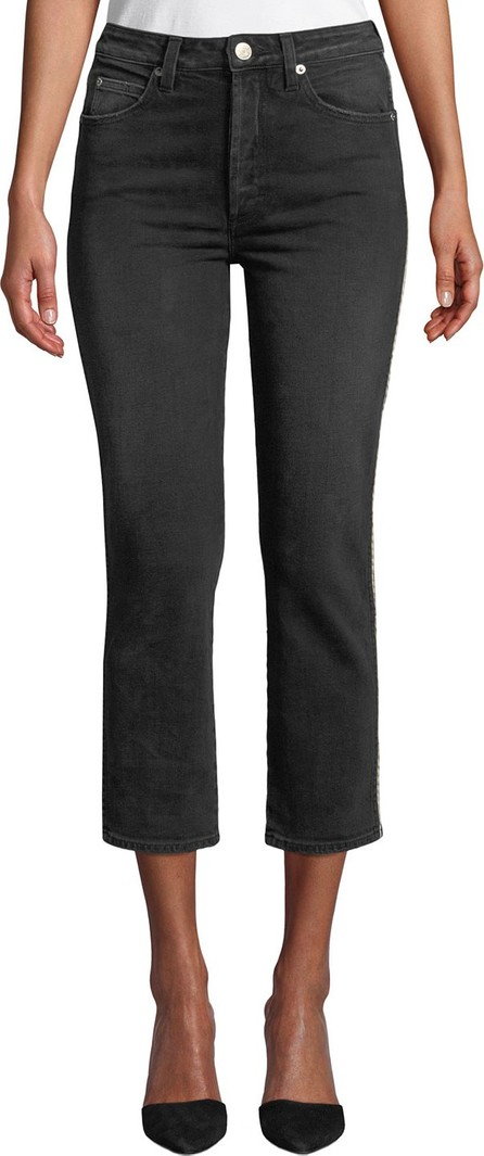 AMO Chloe Cropped Straight-Leg Jeans with Piping