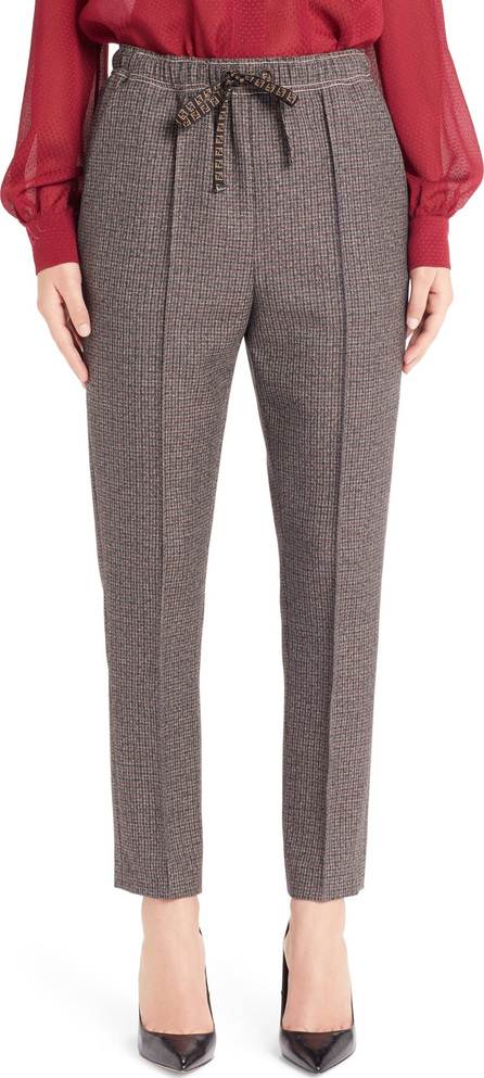 Fendi Microcheck Skinny Stretch Wool Pants