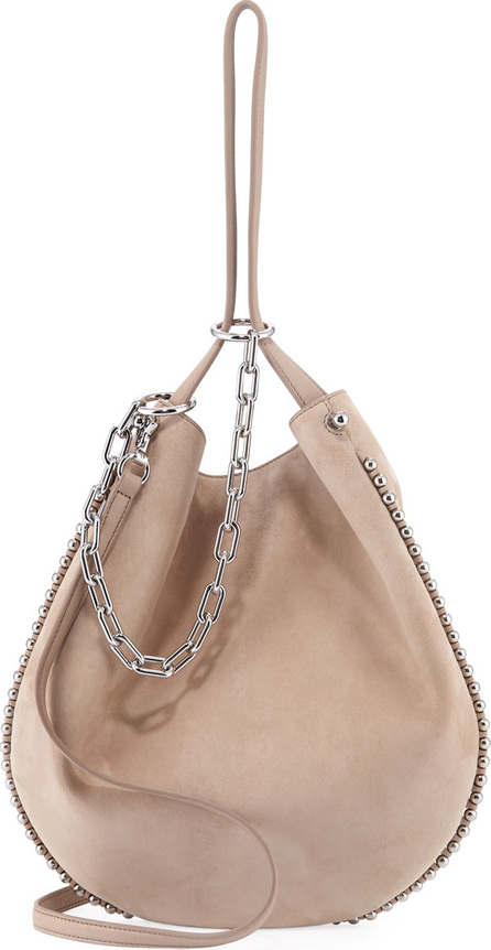 Alexander Wang Roxy Refined Suede Extra Small Hobo Bag, Cashmere