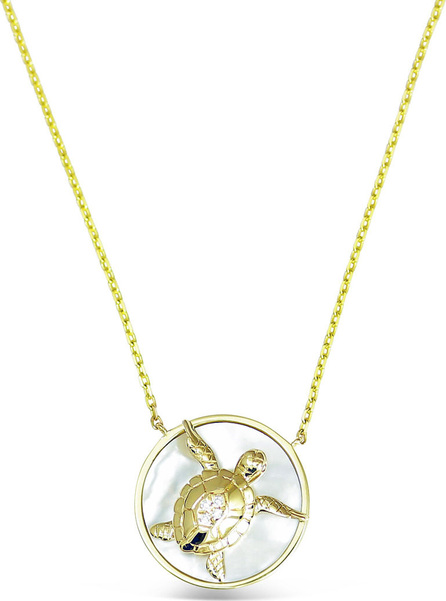 Frederic Sage 18k Gold Happy Turtle & Mother-of-Pearl Pendant Necklace