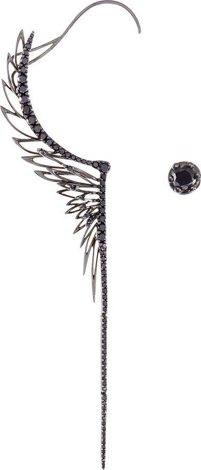 Cristina Ortiz Diamond rhodium 9k white gold mismatched wing creeper earrings