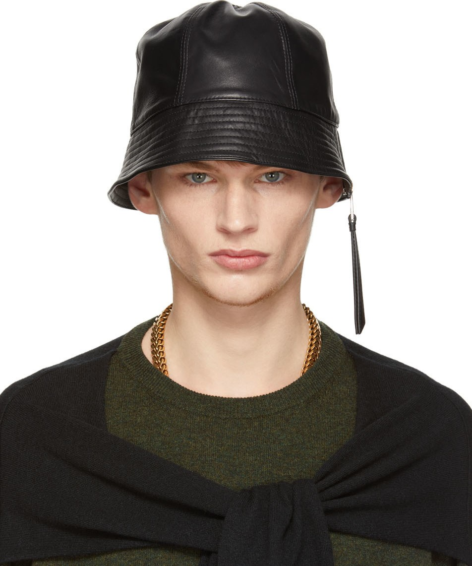 a825f36436a4b LOEWE Black Leather Bucket Hat - Mkt