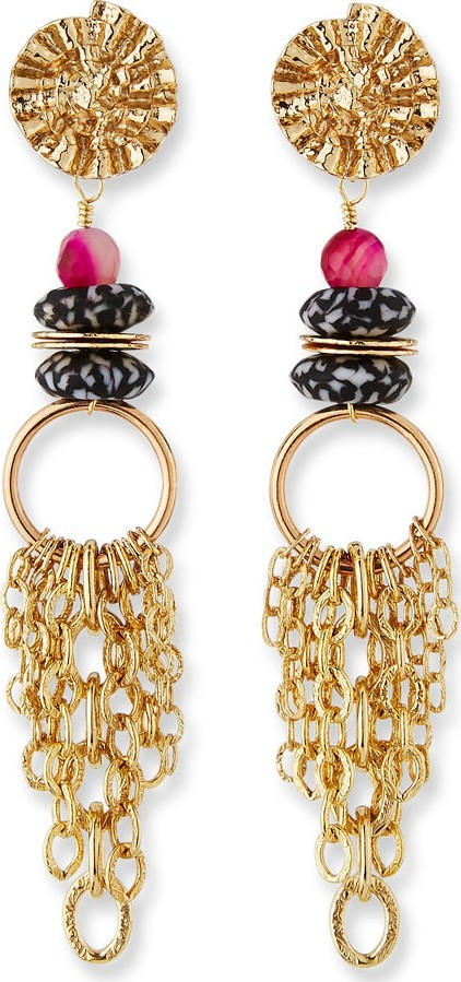 Akola Glass & Chain Dangle Earrings, Black