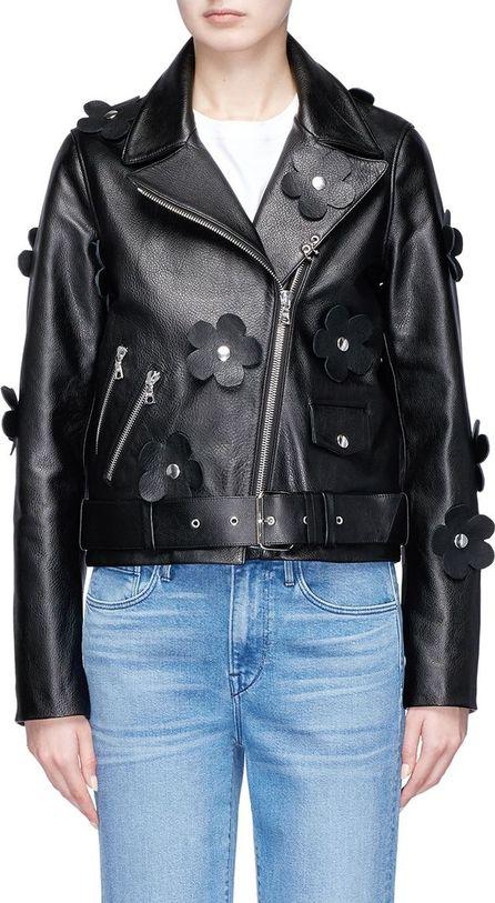 Sandy Liang Studded floral belted leather biker jacket