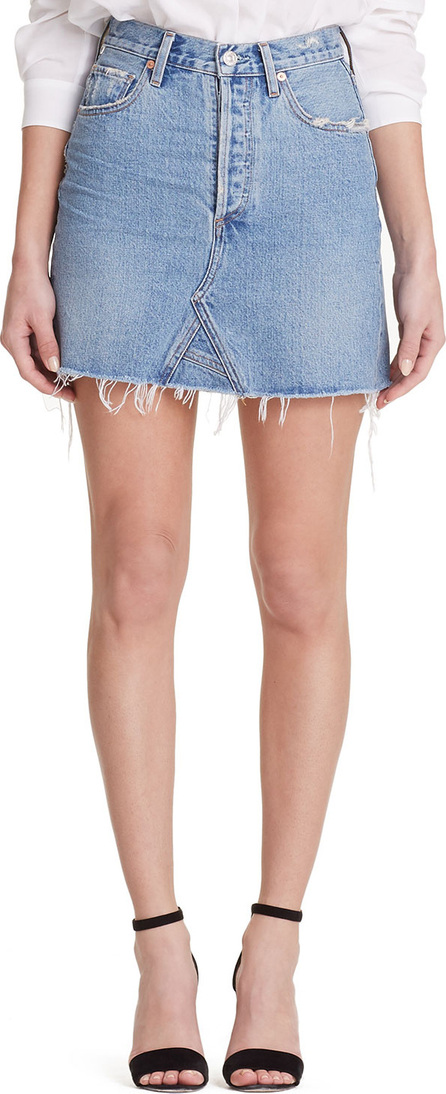 Citizens Of Humanity Astrid High-Rise Frayed Denim Mini Skirt