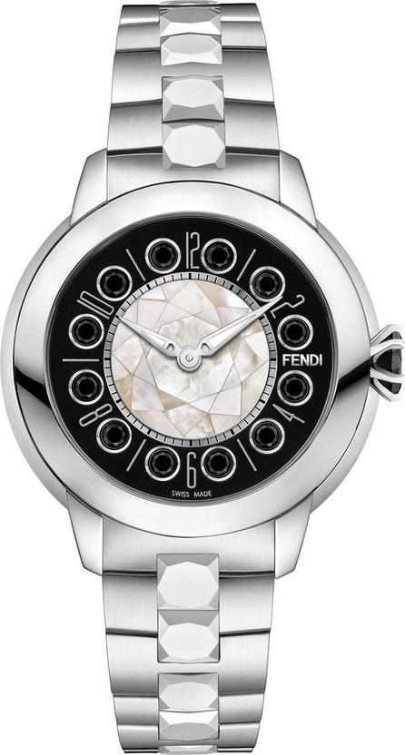 Fendi 33mm IShine Stainless Steel Bracelet Watch w/Black Spinel