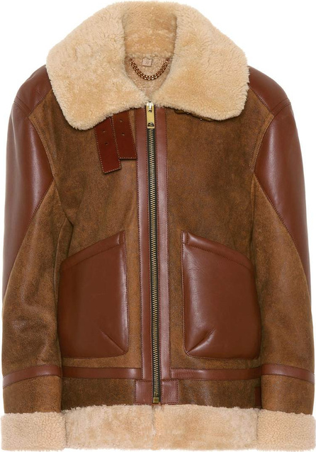Burberry London England Shearling-trimmed leather coat