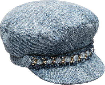 Eugenia Kim Marina Denim Newsboy Hat with Chain Detail