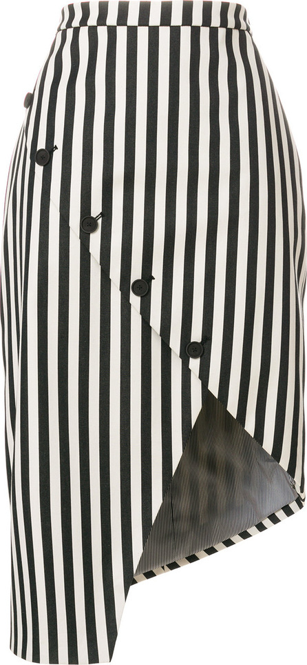 Altuzarra Button detailed striped asymmetric hem skirt