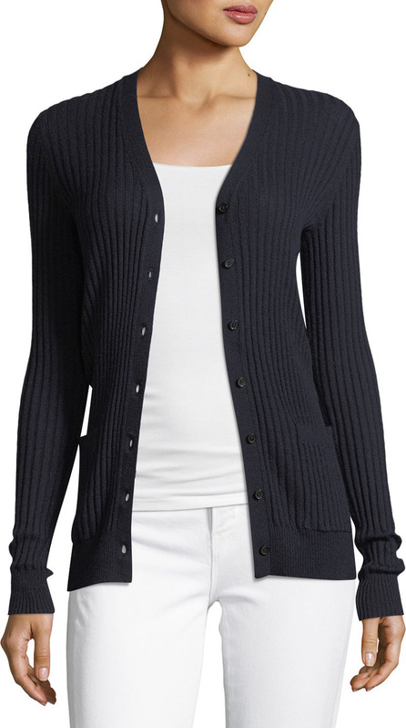 Vince Skinny Rib-Knit Button-Front Cashmere Cardigan