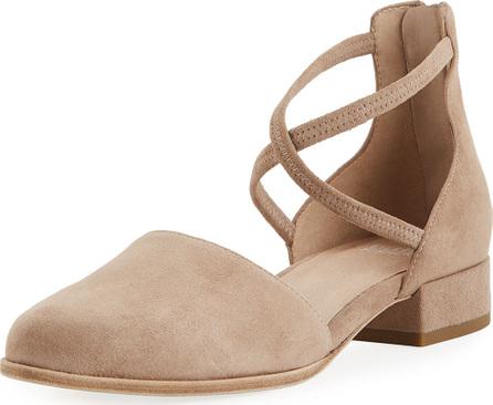 Eileen Fisher Lyton Suede Low-Heel Ankle-Wrap Flat