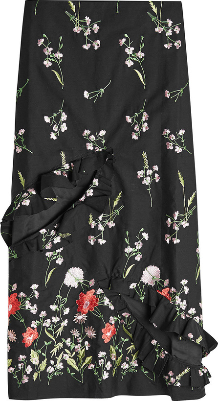 Marques'Almeida Embroidered Slip Skirt with Cut-Out Front