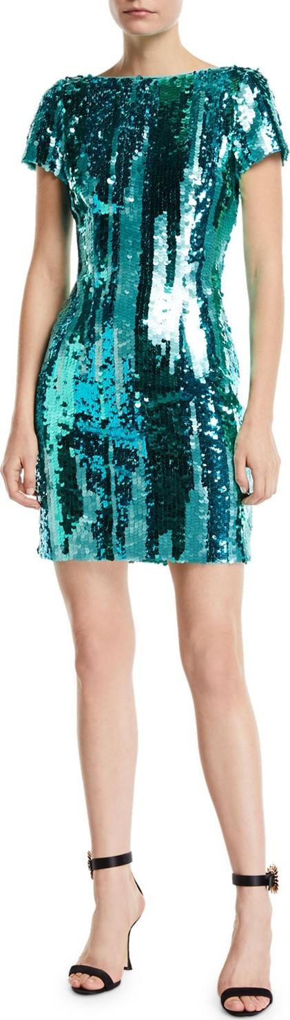 Aidan by Aidan Mattox Striped Sequin Short-Sleeve Mini Cocktail Dress