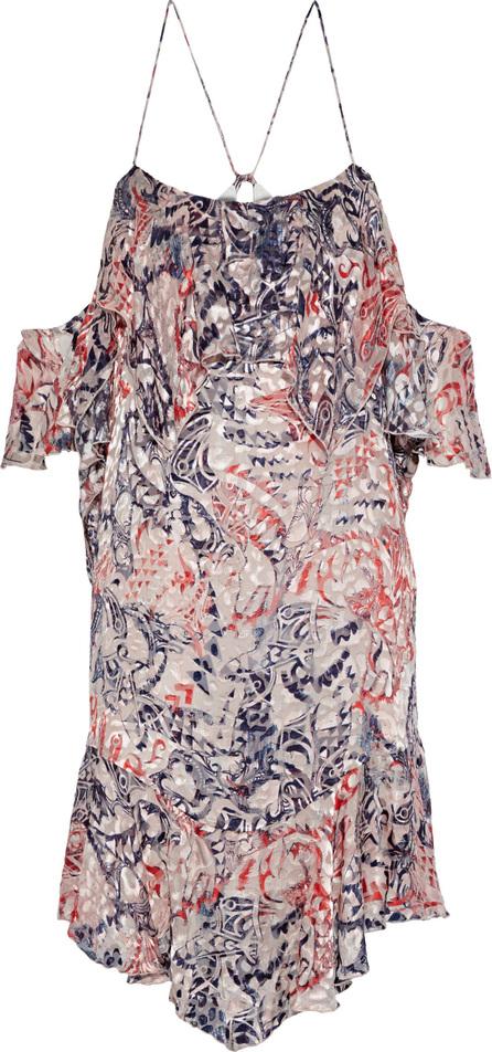 IRO Beverley cold-shoulder ruffled fil coupé chiffon mini dress
