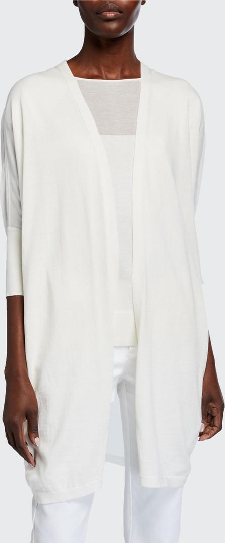 Lafayette 148 New York Open-Front Cotton-Silk Combo Cardigan