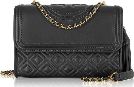 f0088231c466 Tory Burch Fleming Black Leather Small Convertible Shoulder Bag