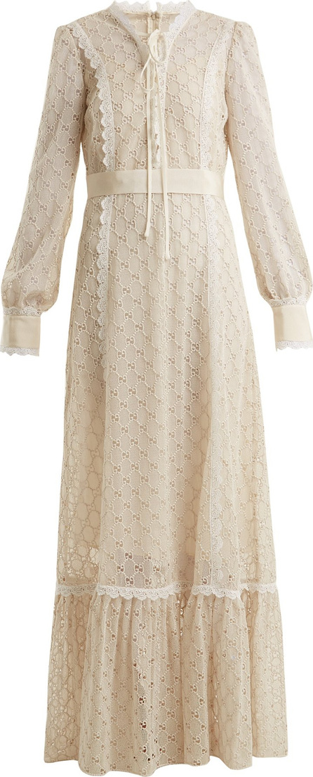Gucci Logo-macramé lace-trimmed cotton-blend gown