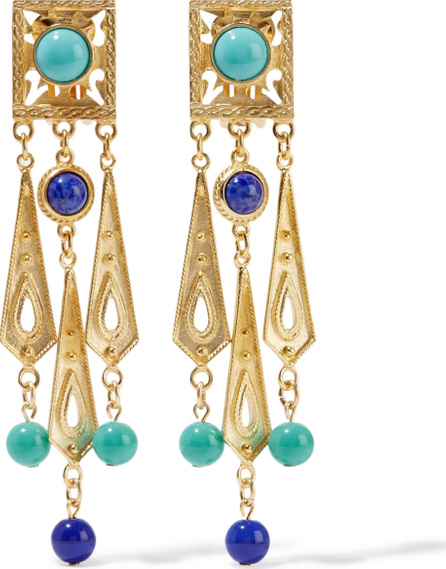 Ben-Amun Gold-plated, bead and stone clip earrings