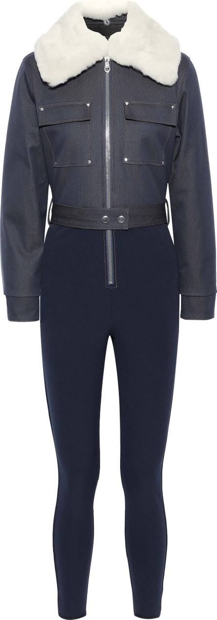 CORDOVA The Courchevel shearling-trimmed denim and stretch-twill jumpsuit