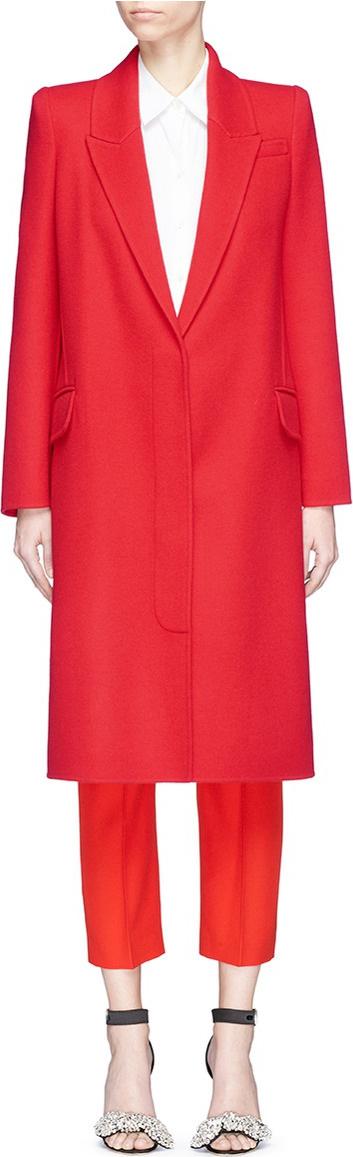 Alexander McQueen Peaked lapel virgin wool-cashmere melton coat