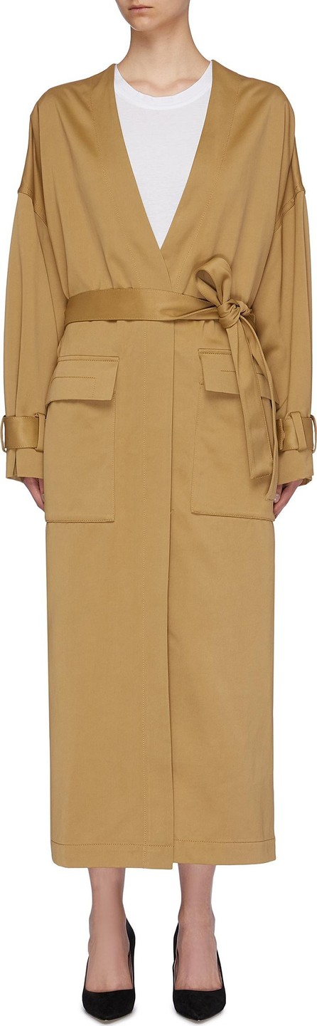 3.1 Phillip Lim Belted patch pocket sateen coat