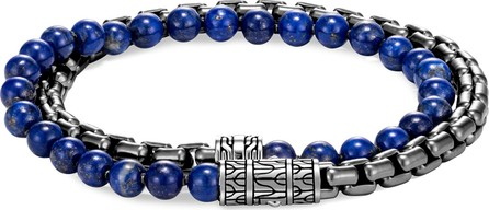 John Hardy 'Classic Chain' lapis lazuli rhodium silver double wrap bracelet