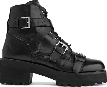 ASH Razor buckled leather platform ankle boots