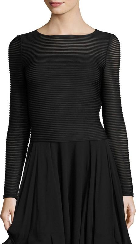 Armani Collezioni Ottoman Jersey Long-Sleeve Top, Black