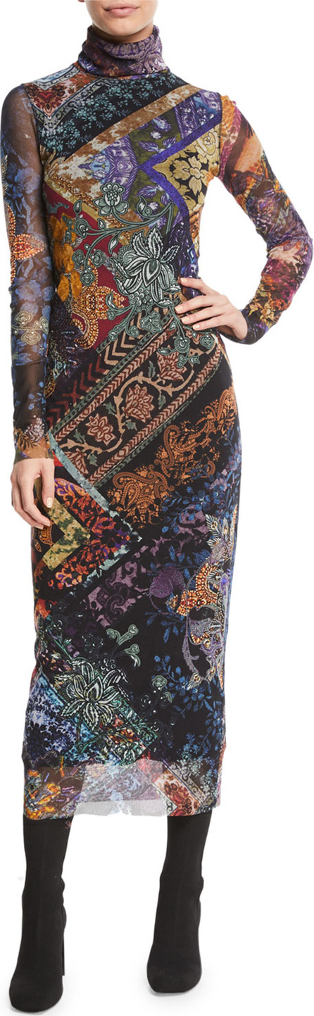 Fuzzi Long-Sleeve Tulle Turtleneck Dress