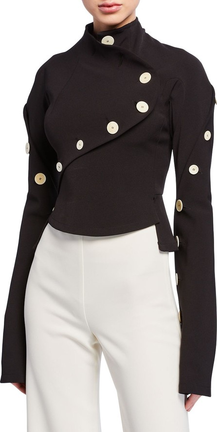 A.W.A.K.E High-Neck Long-Sleeve Top with Buttons