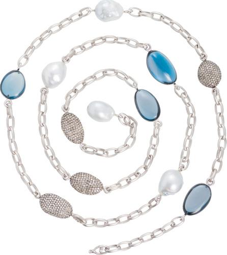 Margot McKinney Denim Blue Topaz & South Sea Pearl Station Necklace