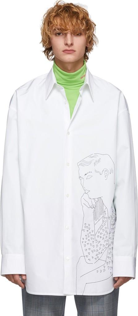 Calvin Klein 205W39NYC White Seated Male Nude Torso Shirt