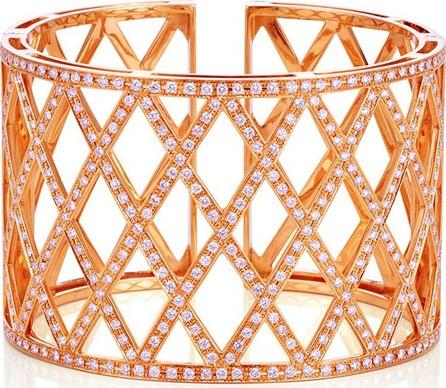 Bessa Diamond Lattice Cuff Bracelet in 18K Rose Gold