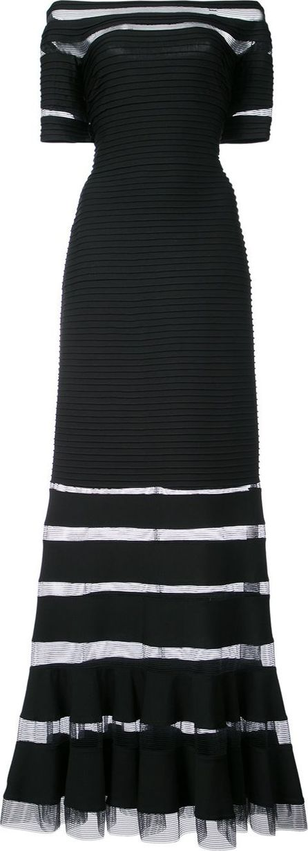 Tadashi Shoji Off-shoulder sheer-panel gown