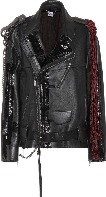 Vetements Embellished leather biker jacket