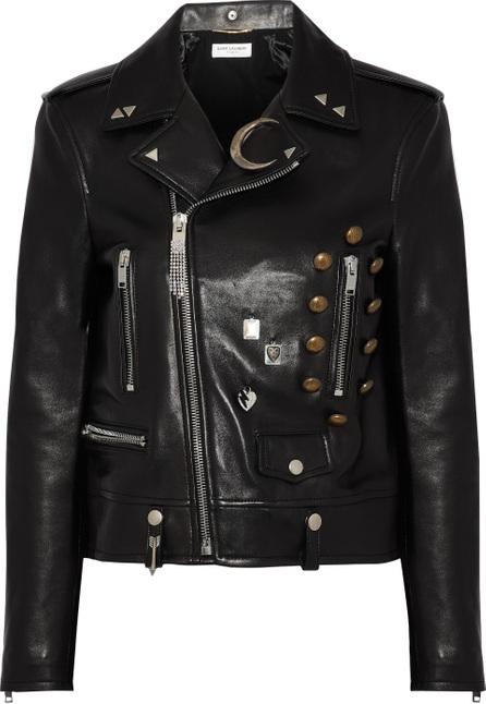 Saint Laurent Embellished leather biker jacket