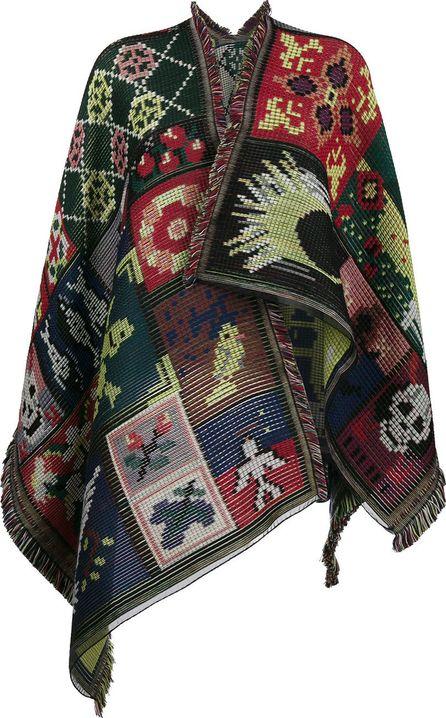 Alexander McQueen cross stitch print cape