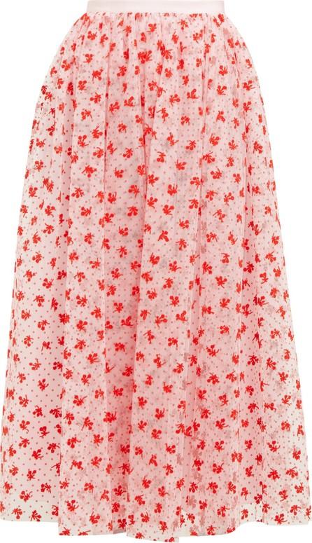 Erdem Lindie floral-flocked tulle maxi skirt