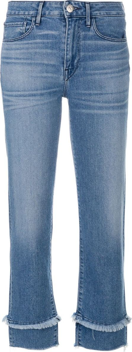 3X1 cropped frayed detail jeans