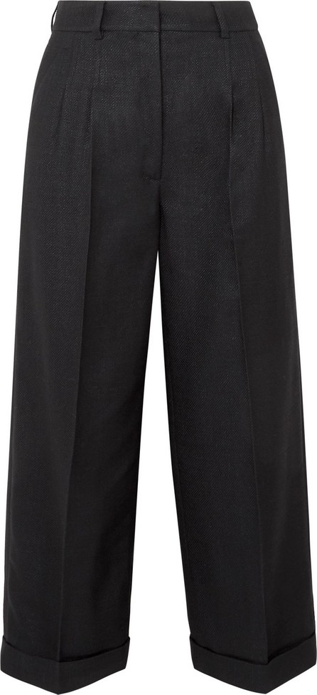 Akris Fira cropped mulberry silk and wool-blend twill wide-leg pants