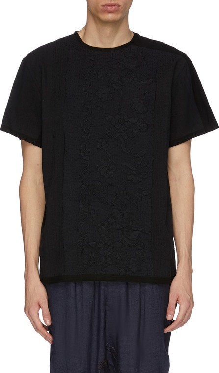 By Walid 'Tatum' contrast stripe sleeve floral embroidered T-shirt