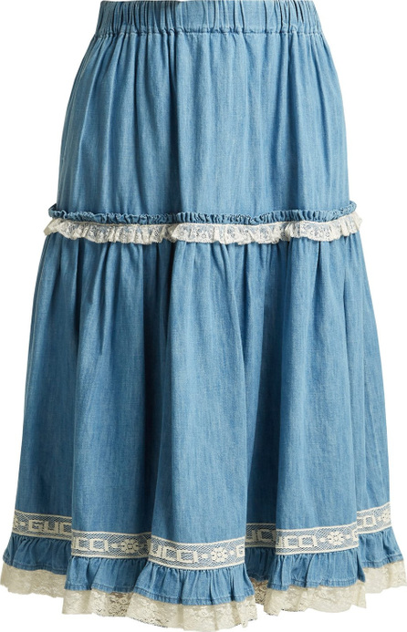 Gucci Lace-trimmed chambray skirt