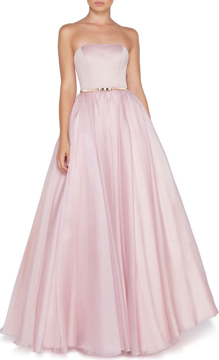 Ieena for Mac Duggal Strapless Organza Ball Gown with Satin Bodice & Bow Belt