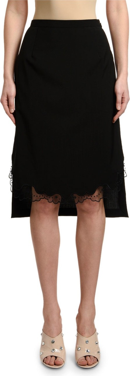 Nº21 Cool Wool Pencil Skirt with Lace Hem