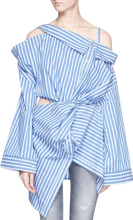 Ground-Zero Asymmetric off-shoulder twist stripe poplin shirt