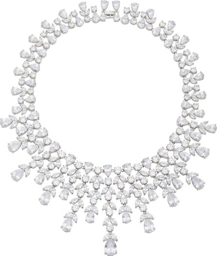 Fallon Monarch Elizabeth Bib Rhodium and Crystal Necklace