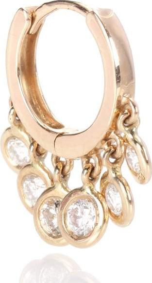 Jacquie Aiche Mini Shaker 14kt gold and diamonds single hoop earring