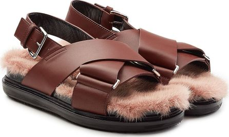 Marni Leather Fusbett Sandals with Mink Fur Insole