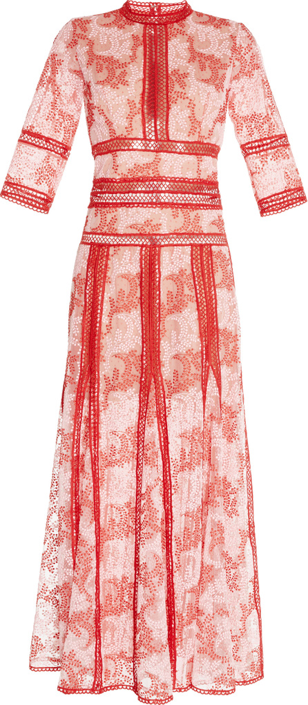 Costarellos Embroidered Tulle Mock Neck Dress