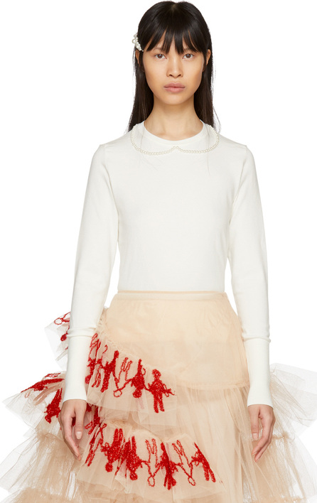 Simone Rocha Ivory Pearl Collar Crewneck Sweater